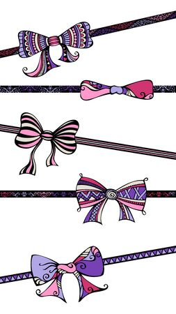 black bow: Ethnic hand-drawn bows and ribbons. Bows and ribbons isolated on white background. Vector illustration for your festive design.