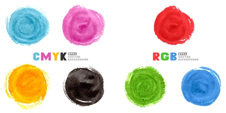 prepress: CMYK and RGB illustration. Set of watercolour hand painted circles isolated on white.