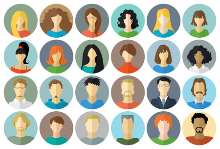 Circle icons set of men and women. Various faces in flat style isolated on white background. Ilustracja