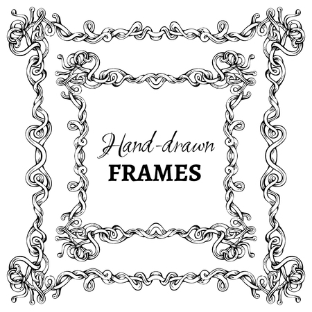 Vector set of hand-drawn vintage frames. Decorative elements isolated on white background. Angle design. Vector