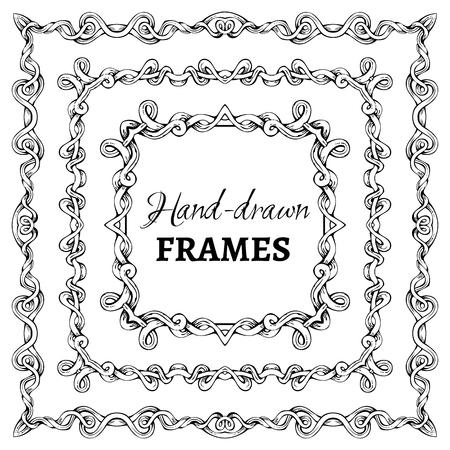 Vector set of square vintage frames. Decorative elements. Angle design. Vector