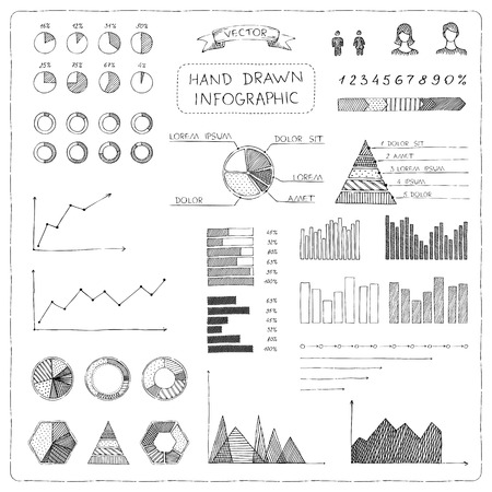 pie chart: Set of doodles business infographic. Sketch hand-drawn pencil elements isolated on white background.