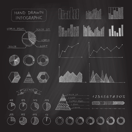 Set of chalk business infographic. Sketch hand-drawn chalk elements on blackboard background. Vector