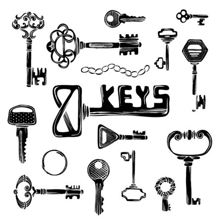 antique key: Vector set of black key silhouettes. Vintage objects isolated on white background.