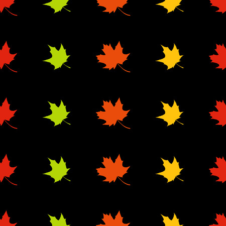 flora  vector: Vector seamless autumn pattern. Maple leaves on black background.