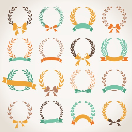 Vintage set of laurel wreaths. Hand-drawn wreaths with ribbons and bows isolated on white background.
