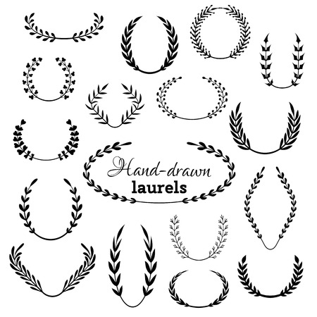 Vector set of laurel wreaths. Hand-drawn design elements isolated on white background.  イラスト・ベクター素材