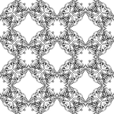 duotone: Seamless geometric pattern. Black and white geometric background. Various hand-drawn elements.