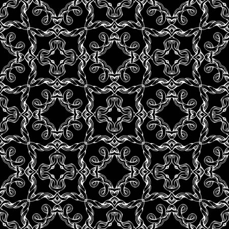 Seamless geometric pattern. Black and white hand-drawn texture. Various vintage elements.