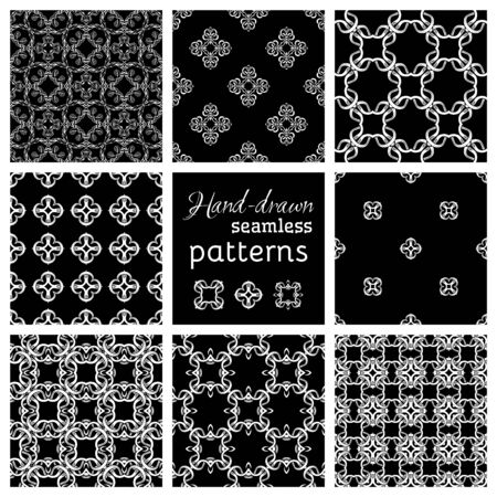 duotone: Set of nine seamless geometric patterns. Black and white hand-drawn backgrounds. Various vintage elements.