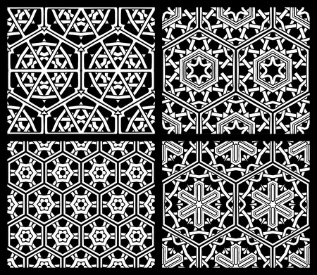 Set of seamless geometric patterns. Black and white backgrounds. Geometric elements.