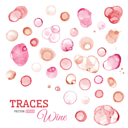 wine stains: Vector set of round wine stains.