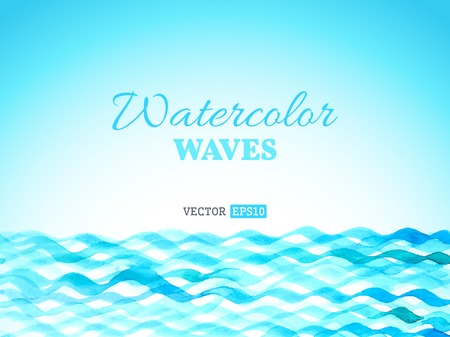 Vector watercolour waves landscape. Blue watercolour waves isolated on white background. There is place for your text.  イラスト・ベクター素材