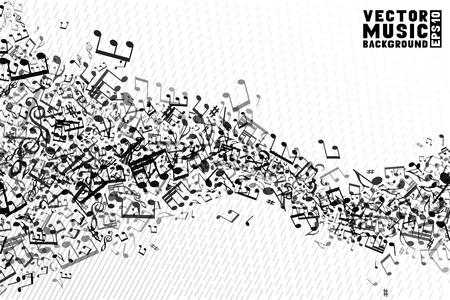 흰색 배경에 음악 요소의 집합입니다. 메모 및 고음 음자리표의 음악 추상 파도입니다.