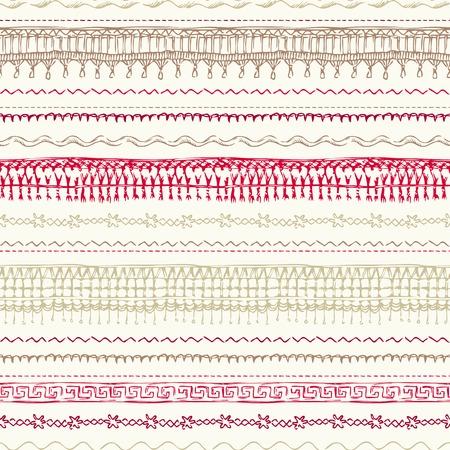 hilo rojo: Costuras dibujados a mano de fondo para su diseño. Vectores