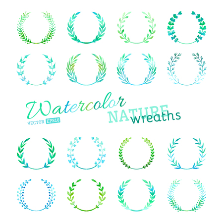 Hand-drawn design elements isolated on white background. All used brushes for wreathes are included. Vector