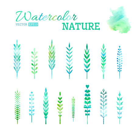 Various hand-drawn leaves isolated on white background for your design. Vector