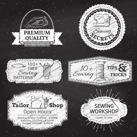 봉제 및 패션. 레트로 선형 배지, 레이블, 리본, 프레임 및 엠 블 럼 칠판 배경에. 텍스트를위한 장소가입니다.