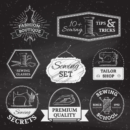 black and white sewing: Retro simple sewing and fashion design elements. There is place for your text.