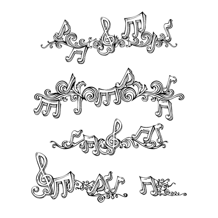 Sketch page dividers, vintage design elements and page decoration with music notes and treble clefs. Isolated on white background.