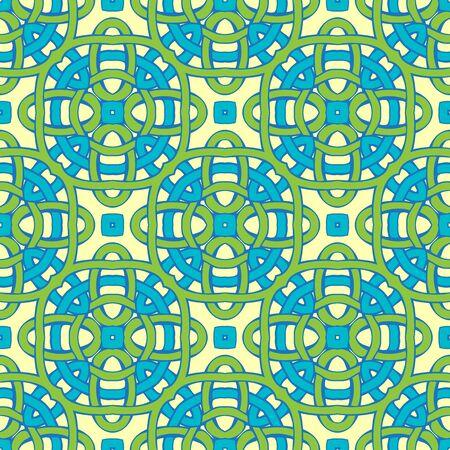 노란색 배경에 파란색과 녹색 트위스트 라인입니다. 일러스트