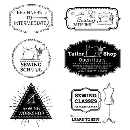 maquina de coser: Retro insignias, etiquetas, plantillas de logotipo y marcos. Vectores