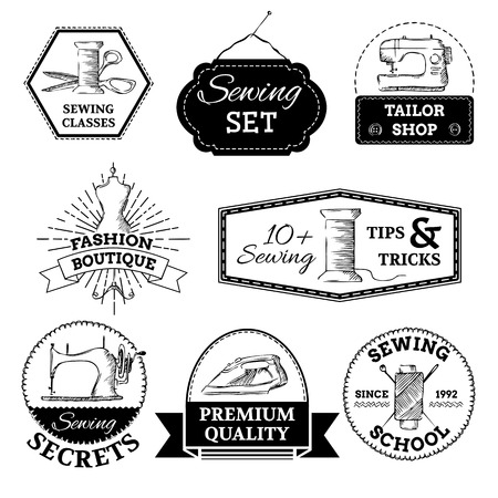 black and white sewing: Linear retro design. There is place for your text. Illustration