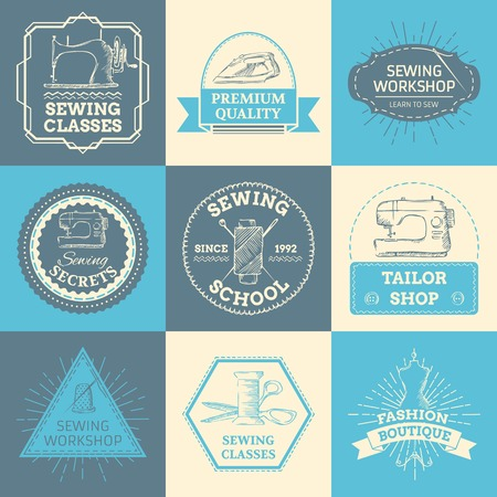 gray thread: Sewing and fashion. Retro linear badges, labels, ribbons, frames and emblems. There is place for your text. Illustration