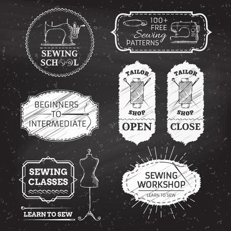 縫製とファッション。レトロな線形のバッジ、ラベル、リボン、フレーム、黒板背景にエンブレム。あなたのテキストのための場所があります。