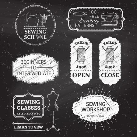 sewing pattern: Sewing and fashion. Retro linear badges, labels, ribbons, frames and emblems on blackboard background. There is place for your text.
