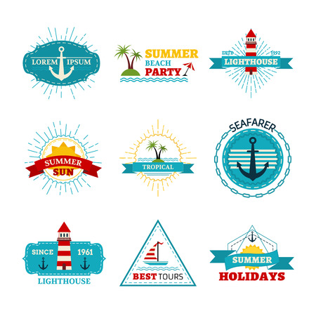 sunny beach: Vintage badges, labels, ribbons, logo templates and emblems. There is place for your text.