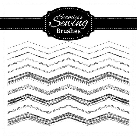 black and white sewing: Hand-drawn stitches, seams and page dividers.