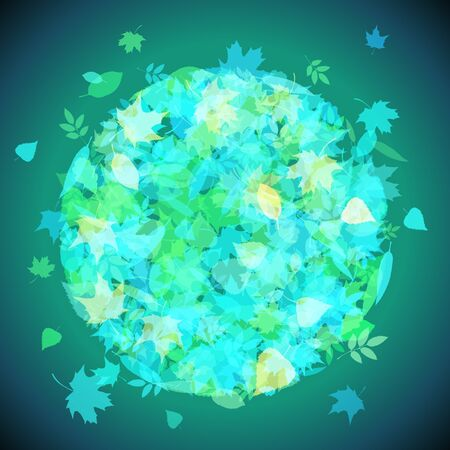 어두운 배경에 vaus, 녹색, 청색 잎의 집합입니다. 텍스트에 대 한 장소가있다. 일러스트