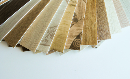Linoleum. Samples of flooring with wood texture. Cutting in size.