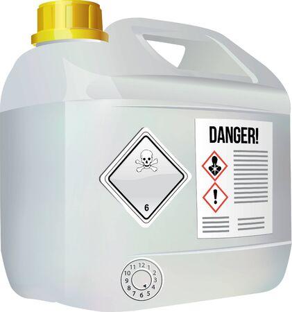 Bidón para el transporte de mercancías peligrosas. Ilustración de vector