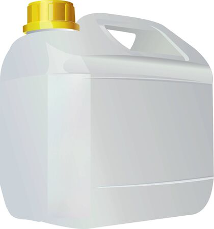 Empty plastic canister with yellow lid for transporting liquid. Vector illustration.