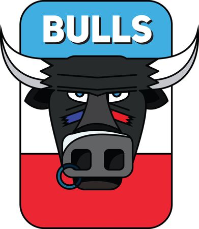 Logo of a sports team. A bull with a nose ring.