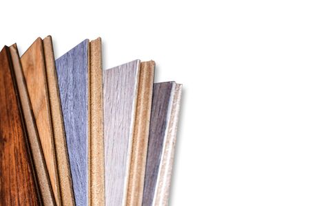 Laminate. Samples of laminate and floorboard. Laminated boards on a white background. Isolated.