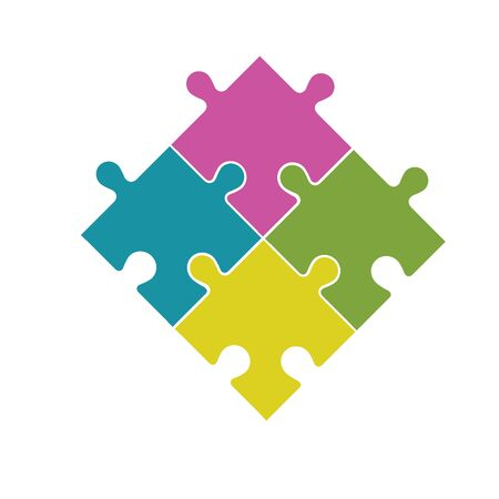 Four multi-colored puzzle pieces assembled in a rhombus. On white background.