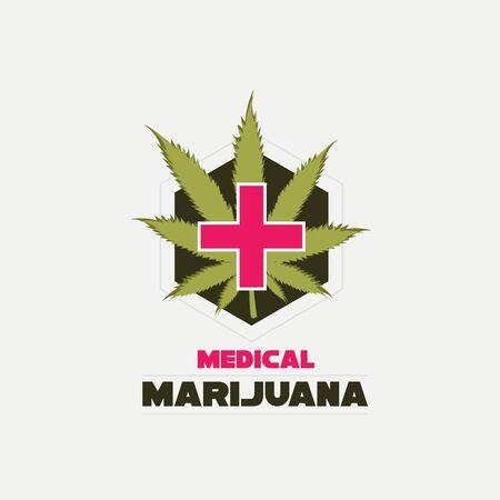 Medical cannabis vector . Red cross and hemp leaf.
