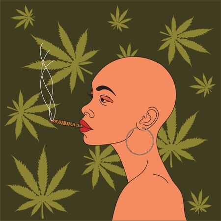 Girl smokes hemp. Against the background of cannabis leaves .Vector.