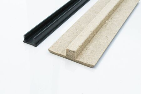 Interior threshold. A joint connecting floor coverings. without visible mounts. Hidden type of mount.