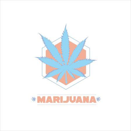 Cannabis vector . Cannabis leaf and hexagon. On a white background.