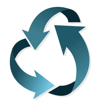Arrows in a circle one after another. Recycling and disposal designation. Vettoriali