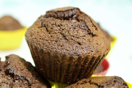 Baked muffins on a white table.Close -up Stock Photo