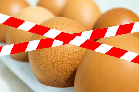 Chicken eggs are prohibited. Egg tray behind forbidden tape.