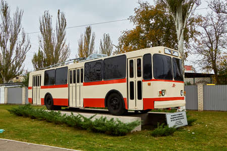 trolleybus monument in the city