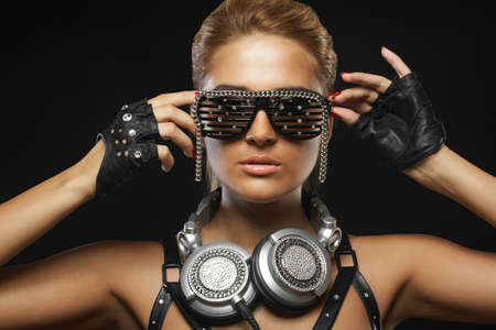 adult nude: portrait of fashion woman model with glamour glasses Stock Photo