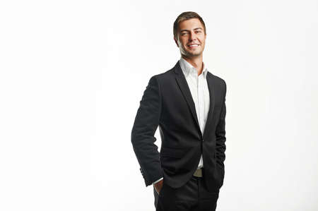 young business man holding isolated on white background Standard-Bild