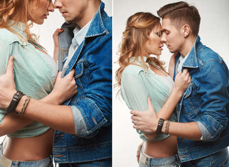 girls kissing girls: Portrait of fashion glamor stylish swag young couple wearing jeans in studio